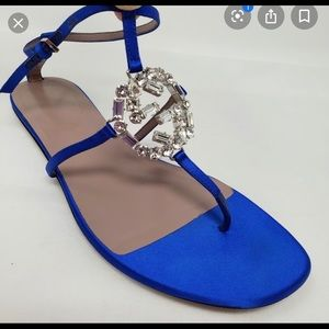 Gucci sparkling GG satin thong sandals. Sz 38 Blue